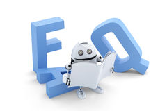 Robot sitting on 3D FAQ sign Stock Images