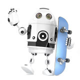 Robot Skateboarder. 3D Illustration. Isolated. Contains Clipping Path Stock Images