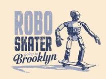 Robot skater rides a skateboard - vintage pop art poster in stamp style vector illustration