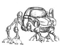 Robot sketch. Sketch of the future machine Royalty Free Stock Photo