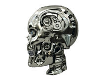 Robot skull with metallic surface and blue glowing eyes on side view Stock Photo