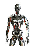 Robot Slave. A chrome robot stands ready to do your bidding - 3D render Royalty Free Stock Photos