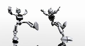 Robot slips and falls Royalty Free Stock Photo