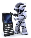 Robot with smart phoine Royalty Free Stock Photo