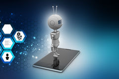 Robot with smart phone Royalty Free Stock Photography