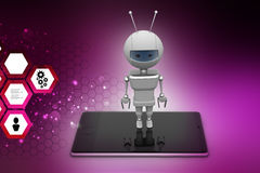 Robot with smart phone Royalty Free Stock Photos