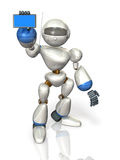 Robot with a smart phone Royalty Free Stock Photos