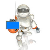 Robot with a smart phone Royalty Free Stock Photo