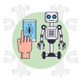 Robot and smartphone. Hand using smartphone to robot control vector illustration graphic design vector illustration