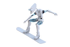 Robot Snowboarder stock photo