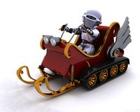 Robot on a snowmobile sleigh Royalty Free Stock Image