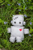 Robot Soft Toy at Green. Robot With Heart. Macro Soft Toy at nature background Stock Photos