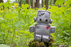 Robot Soft Toy at Green. Robot With Heart. Macro Soft Toy at nature background Stock Images