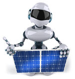 Robot and solar panel Stock Photos