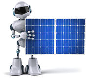 Robot and solar panel Stock Image