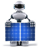 Robot and solar panel Royalty Free Stock Images