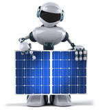 Robot and solar panel Royalty Free Stock Image