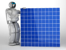 Robot and Solar panel Stock Images