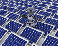 Robot with solar panel Royalty Free Stock Photo