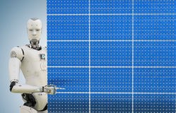 Robot with solar panel Royalty Free Stock Images