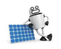 Robot with solar panel Royalty Free Stock Photos