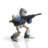 Robot Soldier sets up a rifle. Stock Photos