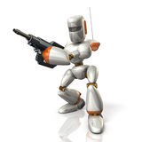 Robot Soldier sets up a rifle. Royalty Free Stock Image