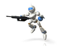 Robot soldiers to assault with a rifle Stock Photo