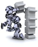 Robot solving jigsaw puzzle Stock Image