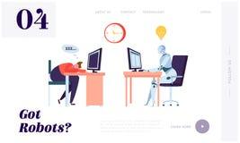 Robot som arbetar all Tid landningsida Tecken som sover på arbetsplats Maskinen kan bearbeta information ständigt, utan att stopp royaltyfri illustrationer
