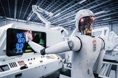 Robot som arbetar i fabrik stock illustrationer