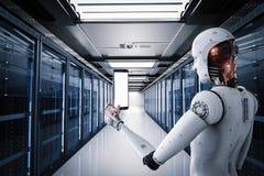 Robot som arbetar i serverrum stock illustrationer