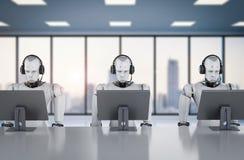 Robot som arbetar med hörlurar med mikrofon och bildskärmen Arkivbilder
