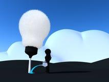 Robot som bevattnar lightbulb-trädet Royaltyfria Bilder