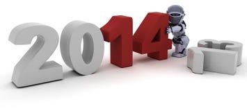 Robot som kommer med i det nya året Arkivfoton