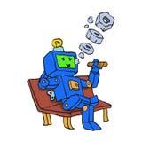 Robot som röker cigarrtecknade filmen royaltyfri illustrationer