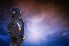 Robot in space. 3d rendering artificial intelligence robot with outer space background