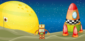 Robot and space shuttle. Illustration of a robot and a space shuttle in the universe Stock Images