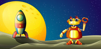 A robot and a spaceship in the outer space Stock Photo