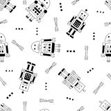 Robot and spanner seamless pattern in Scandinavian style Royalty Free Stock Photos