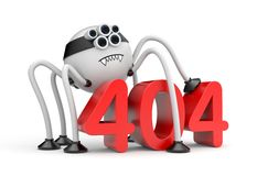 Robot spider and 404 error Stock Image