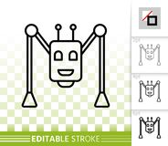 Robot Spider simple black line vector icon stock illustration