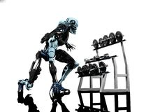 The robot and sports. Sports objects and robot on a white background Royalty Free Stock Images