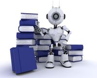 Robot with stack of books Stock Image