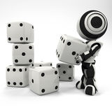 Robot Stacking a Collection of Dice at Random Stock Photo