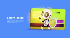 Robot Standing Over Credit Card Hold Firewall Payment Protection Security Concept Banner With Copy Space. Flat Vector Illustration Royalty Free Stock Image