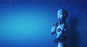 Robot standing and thinking in control room with a binary code. Artificial intelligence in futuristic technology concept, 3d illustration Royalty Free Stock Photography