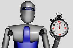 Robot and stopwatch. A robot with a stopwatch vector illustration