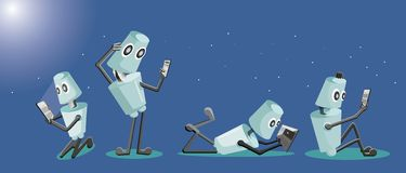Robot studying technology vector illustration
