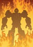 Robot su fuoco Fotografie Stock